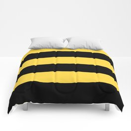 Even Horizontal Stripes, Yellow and Black, XL Comforters