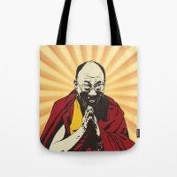 lama Tote Bags featuring Dalai Lama by ArDem