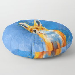 Happy Fox, inspirational animal art Floor Pillow