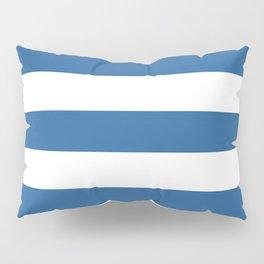 Lapis lazuli - solid color - white stripes pattern Pillow Sham