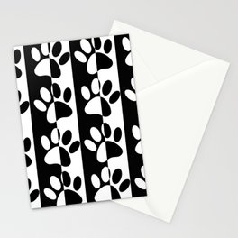 Black And White Dog Paws And Stripes Stationery Cards