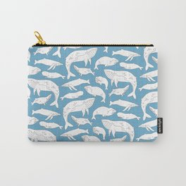 Whale Pattern - Blue Carry-All Pouch