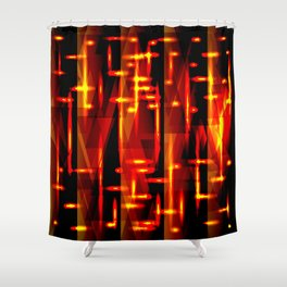 Luxurious red stripes and metallic orange triangles of fire create abstraction and glow. Shower Curtain
