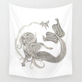 Mermaid in the Seaweed Illustration Wall Tapestry