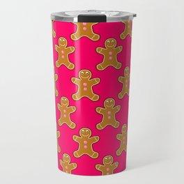 Pink Gingerbread Men Travel Mug