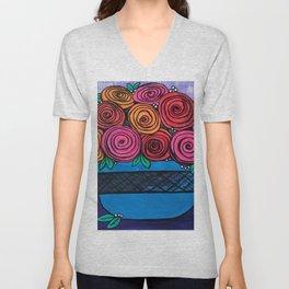 Bowl of Roses Unisex V-Neck