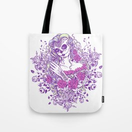 Sexy Woman zombie WITH Flower -  Carla - Vivid Violet - Lavender Tote Bag