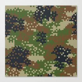 Pixel Woodland Camo Camouflage Pattern Canvas Print