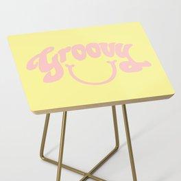 Groovy Smile // Fun Retro 70s Hippie Vibes Lemonade Yellow Grapefruit Pink Lettering Typography Art Side Table