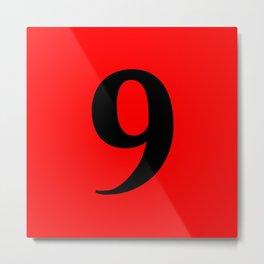 9 (BLACK & RED NUMBERS) Metal Print