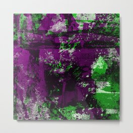 Abstract 22 - Study In Green And Purple Metal Print