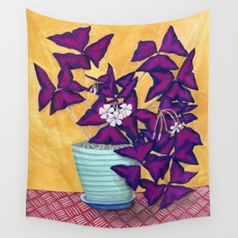 Purple Shamrock Plant Wall Tapestry
