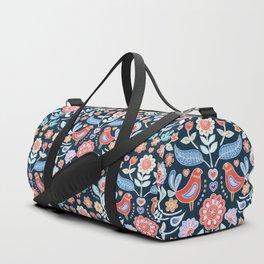Happy Folk Summer Floral on Navy Duffle Bag