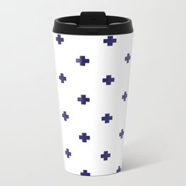 Modern Swiss - Bold Style Cross Plus Sign Metal Travel Mug