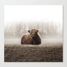 Highlander Fog sepia Canvas Print