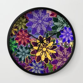 Flowers in the Meadow  Wall Clock