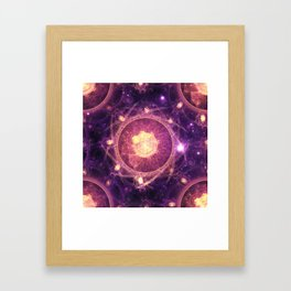 Emblazoned Gold & Royal Purple Mandala of the Stars Framed Art Print