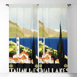 Italian Lakes - Italy Vintage Travel Poster 1930 Blackout Curtain