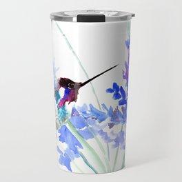 Flying Hummingbird and Blue Flowers Travel Mug