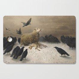Anguish - August Friedrich Albrecht Schenck - Ravens and Sheep Cutting Board