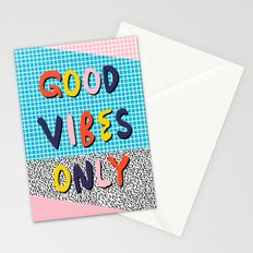 Check it - good vibes happy smiles fun modern memphis throwback art 1980's 80's 80s 1980s 1980 neon  Stationery Cards