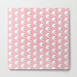 White Skull Pattern with Coral Background Metal Print