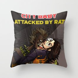 City Babe Attacked by Rat Throw Pillow