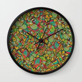 Paisley cucumbers pattern Wall Clock