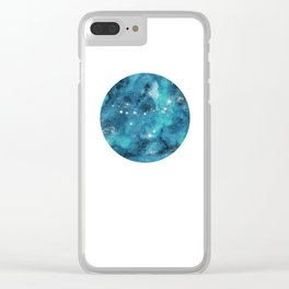 Capricorn zodiac constellation on navy blue Clear iPhone Case