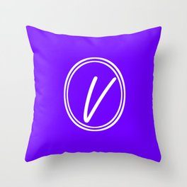 Monogram - Letter V on Indigo Violet Background Throw Pillow