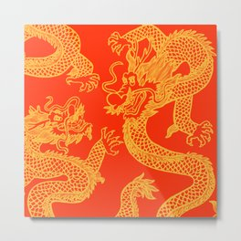 Red and Gold Battling Dragons Metal Print