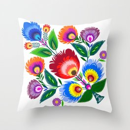 colorful folk flowers Throw Pillow
