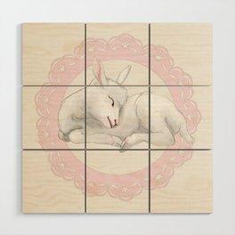 Sleeping Lamb in Pink Lace Wreath Wood Wall Art