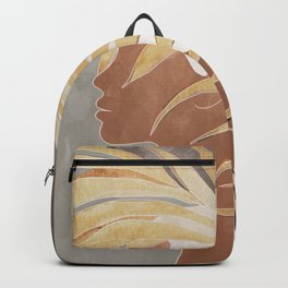 Woman with Golden Palm Leaf Backpack