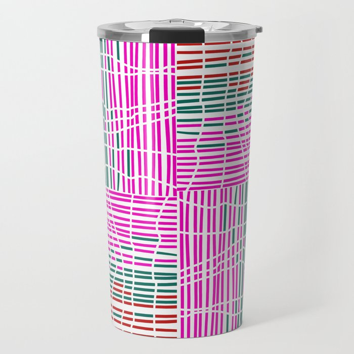 Red, Teal, Pink Vein and Stripe Patterns Travel Mug
