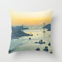 hong kong Throw Pillows featuring Hong Kong by Rothko