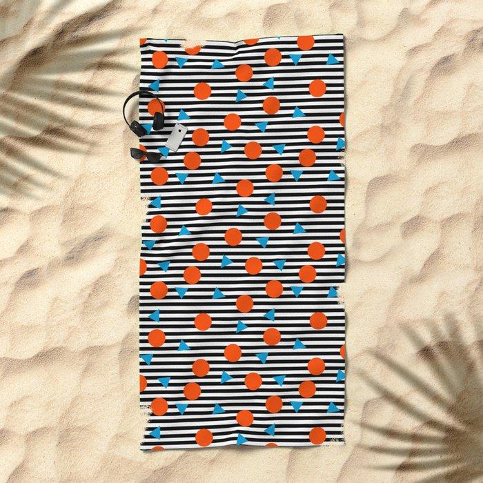 Yadda Yadda - memphis lines stripes dots triangles geometric abstract minimal print pattern wacka yo Beach Towel