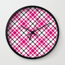 Pink Black and White Tartan Wall Clock