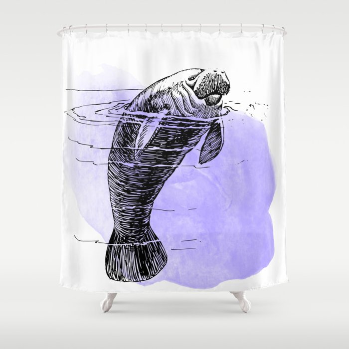 Purple Manatee Shower Curtain