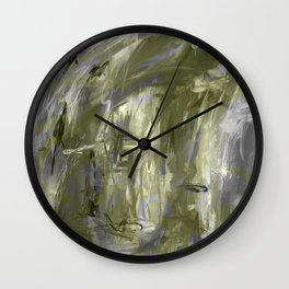 It is so Wavey Grey and Olive Green Acrylic Abstract Art Wall Clock