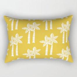Palm Tree Pattern Mustard Yellow Rectangular Pillow