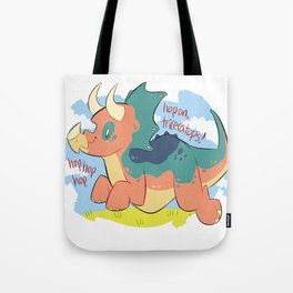 hop on triceratops  Tote Bag