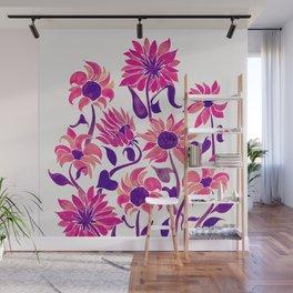 Sunflower Watercolor – Pink & Purple Palette Wall Mural