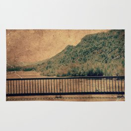 Vintage river landscape and mountains Rug
