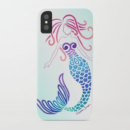 Tribal Mermaid with Ombre Turquoise Background iPhone Case