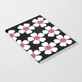 Japanese Sakura Floral Pattern - Black Notebook