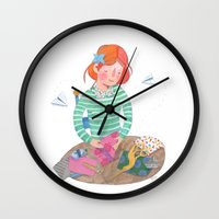 origami Wall Clocks featuring Origami by Maria Garcia