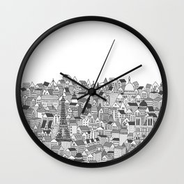 Paris (black and white version) Wall Clock