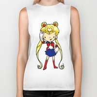 sailor moon Biker Tanks featuring Sailor Scout Sailor Moon by Space Bat designs