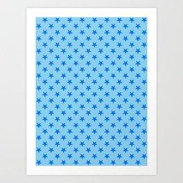 Brandeis Blue on Baby Blue Stars Art Print
